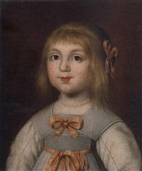 portrait of a young girl in a white dress with pink bows by hendrik munniks