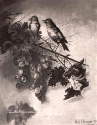 vogel auf einer weinrebe by karl hennings