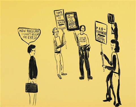 untitled yellow protest by chris johanson