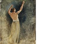 esquisse de nu levant les bras, pour un personnage du tableau le concert by jean-baptiste-camille corot