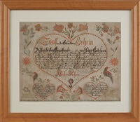 birth and baptismal certificate for elias hettich, bucks county, with a central large heart with scalloped border enclosing script, surrounded by tulip vines, birds, running stags, and two lower hearts, all decorations outlined with pinprick designs by anthony rehm