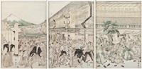 triptych of a street scene by utagawa toyokuni (toyokuni i)