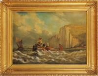 la pêche près des falaises by eugène modeste edmond le poitevin