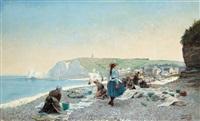 tvätterskor på stranden, etretat, normandie by gustaf adelsward