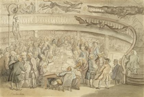 a conversation at the old surgeons hall old bailey london by thomas rowlandson