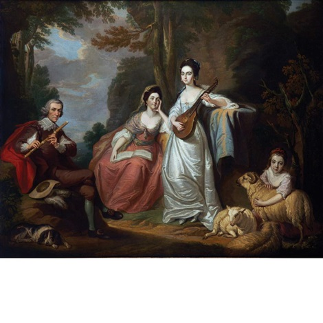 the burdett family in a landscape by francis cotes