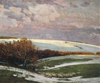 sheep in a landscape, winter by sir alfred east