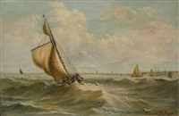 yachts off the coast by edmund h. baggs