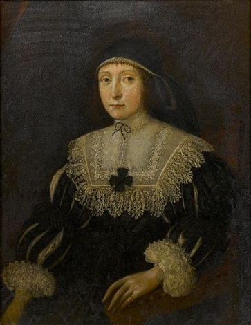 portrait of a lady three quarter length in a black dress with slashed sleeves and white lace collar and cuffs by gilbert jackson