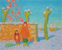 mère et son enfant devant un mur by youri lobatchev