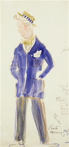 portrait of a man believed to be nigel bruce design for hats 2 works by cecil beaton