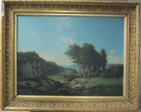 paysage animé d'une jeune femme ramassant du bois by horace-antoine fonville
