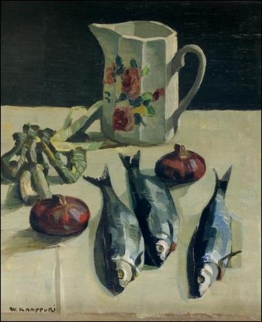 kala asetelma stilleben med fisk by väinö kamppuri