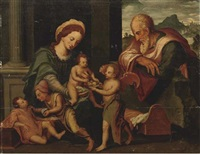 the holy family with saint simon and saint james by vincent sellaer