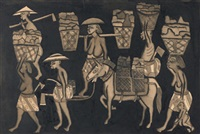 people carrying stones, one on a horse by ida bagus peguh
