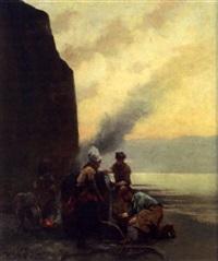 pêcheurs sur la plage by henry edward detmold