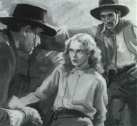 woman surrounded by cowboys by walter g. ratterman