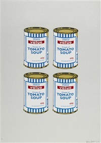 4 soup cans - gold on grey by banksy