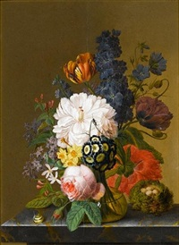 primroses, daffodils, a rose, a poppy and other flowers in a glass vase on a stone ledge, with a snail and a bird's nest by pieter faes