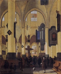 an interior of a protestant gothic church with figures during a sermon by hendrick van streeck