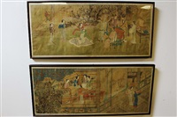 17th century 2 pieces of chinese scroll painting with