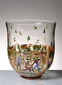 art deco vase with a four seasons motif by ervin pfohl
