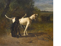 hounds in a wooded landscape by constant troyon
