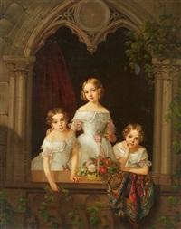 three girls by a gothic window by morten thrane brünnich