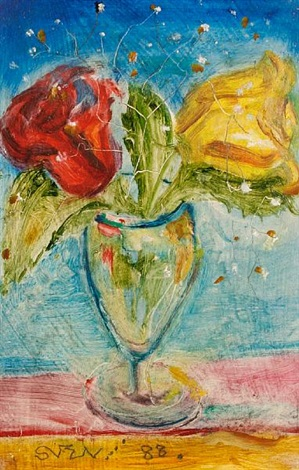 two roses in a glass vase by sven berlin