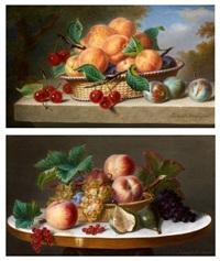 nature morte au panier d'abricots sur un entablement et nature morte au panier de pêches et raisins sur un guéridon (pair) by ange louis guillaume lesourd-beauregard