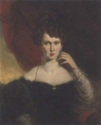 portrait of a lady, seated, in a black dress with lace trim, a red curtain and landscape beyond by henry daniel thielcke