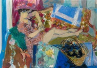 femme allongée by raymond jean legueult