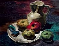 stilleben mit äpfeln und weißem krug by josef gassler