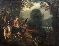 la sainte famille servie par des anges by frans francken the younger and abraham govaerts