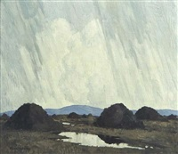 turf stacks, west of ireland by paul henry