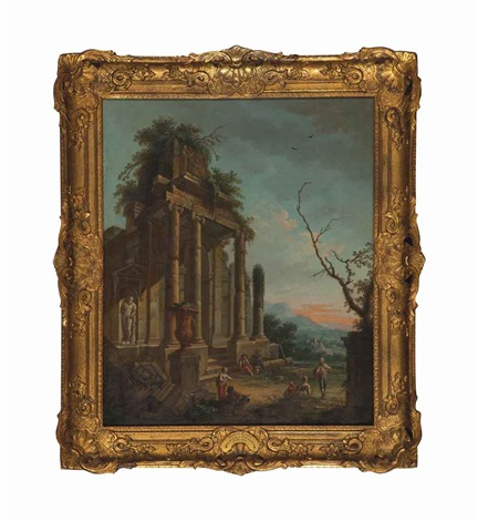 an architectural capriccio with a statue of hercules and peasants and untitled 2 works by giovanni paolo panini