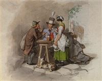 rastender potillon mit kellnerin, hund und einem händler by josef von camerlohr