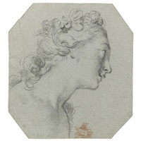 head of a girl, turned in profile to the right (+ half-length study of a nude girl, seen from behind and turned to the left, verso) by francois le moyne