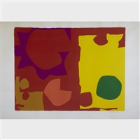 six in vermillion with green in yellow by patrick heron