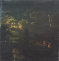 moonlight scene by hendrick van assche