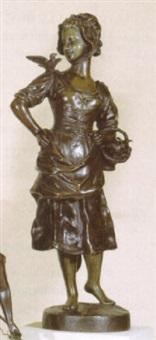 jonge vrouw met duiven by laure coutan-montorgueil