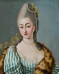 dame in blaugestreiftem kleid, pelz und perlenschmuck by isaak juncker