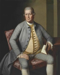 portrait of gentleman, three-quarter-length, seated at a table, virgil's georgics by joseph wright (of derby)