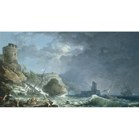 a storm off a rocky coast by carlo bonavia