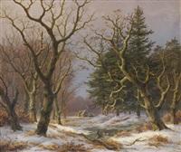 paysage d'hiver avec des canards by caesar bimmermann
