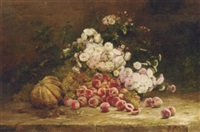 summer flowers and fruit on a stone ledge by albert tibule furcy de lavault