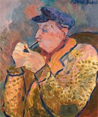 old man with pipe by jane evans