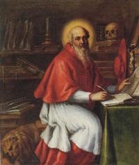 saint jerome in his study by santo peranda
