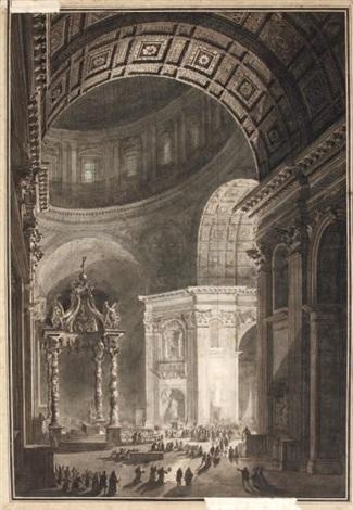 lillumination de la croix du carême à saint pierre de rome by louis jean desprez