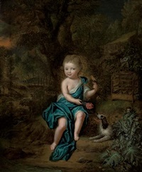 portrait of a young boy in a blue mantle fastened at his shoulder with a jewel by mattheus verheyden
